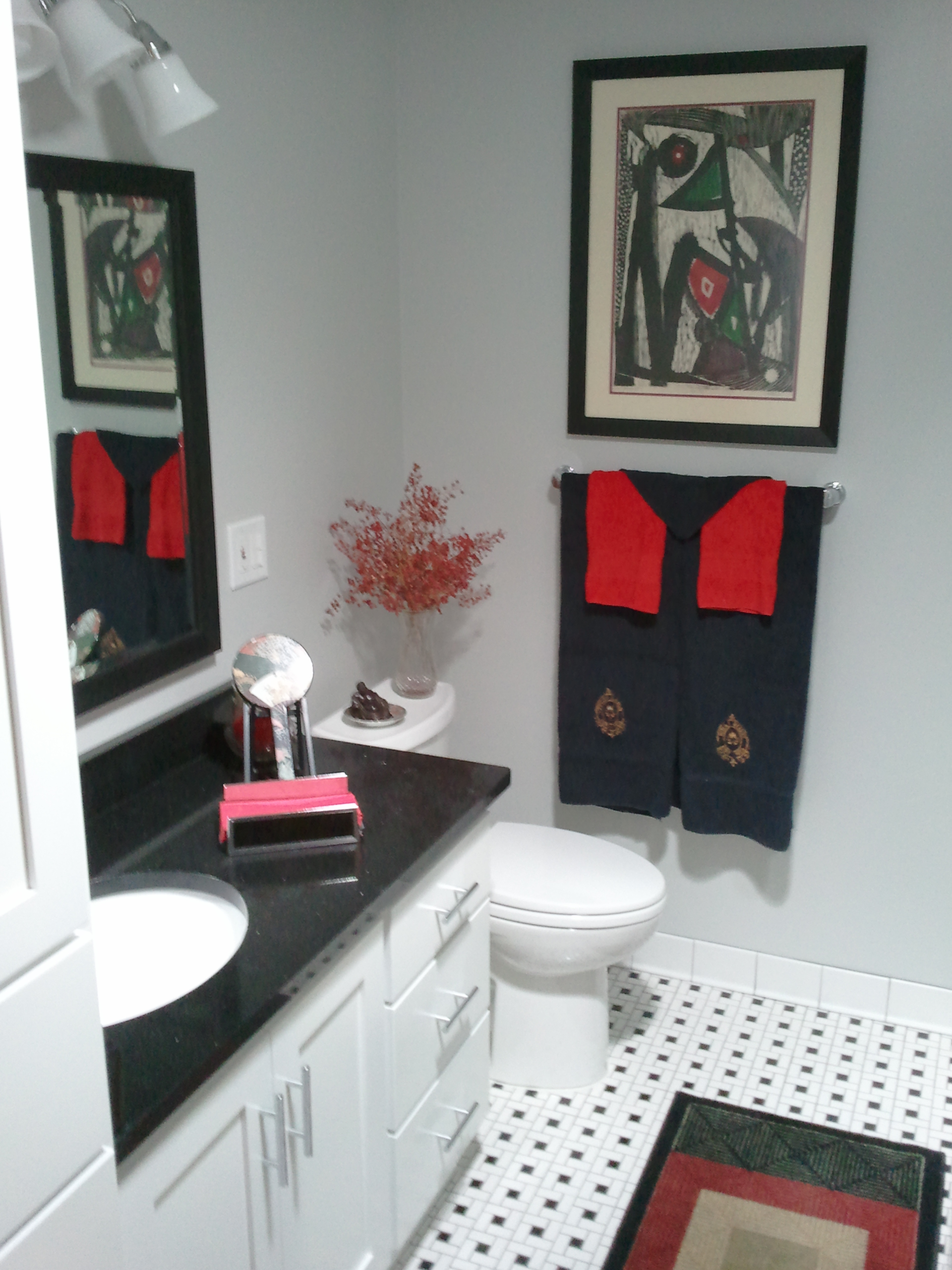 White Red Black Bathroom