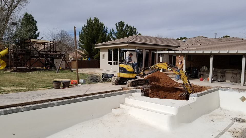 Tractor Excavating Pool - Construction